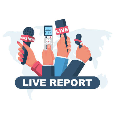 Live report concept. Microphones and voice recorder in reporter hands a journalist