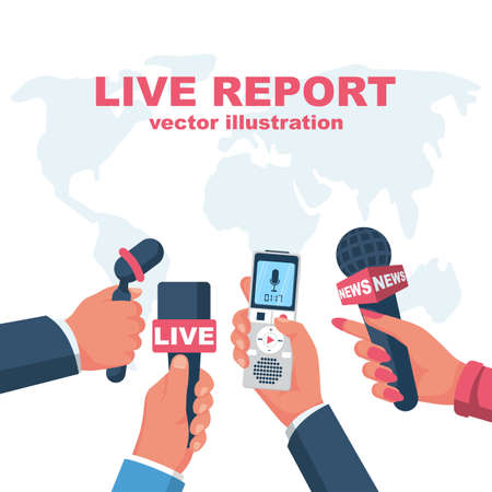 Microphones and voice recorder in reporter hands.