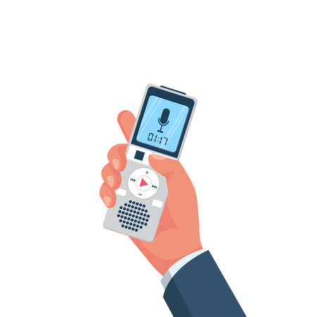 Voice recorder in hand. Journalist holds dictaphone, recorder 向量圖像
