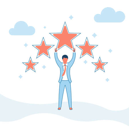 Star rating vector illustration flat design. Feedback concept. Evaluation system. Positive review. Isolated on background. Quality work. Businessman puts five stars.