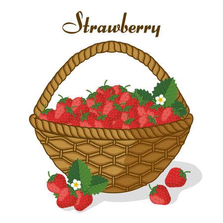 Basket of strawberries ripe juicy sweet berries.Template for menu or banner for healthy eating. Vector flat design. Landing page.