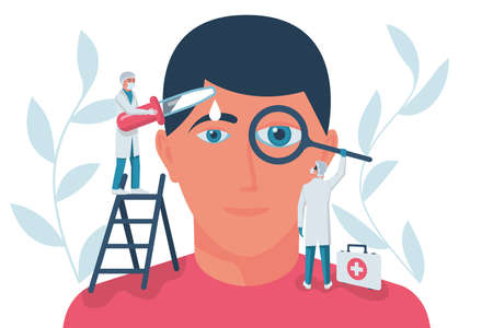 Ophthalmology concept. Web banner, template for eye examination. A group of doctors treats and examines the eyes. Professional doctor. Vector illustration flat design. Isolated on white background.