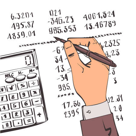 Working with financial papers. Accounting concept.