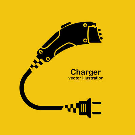 Black icon silhouette electric car charger isolated on yellow background