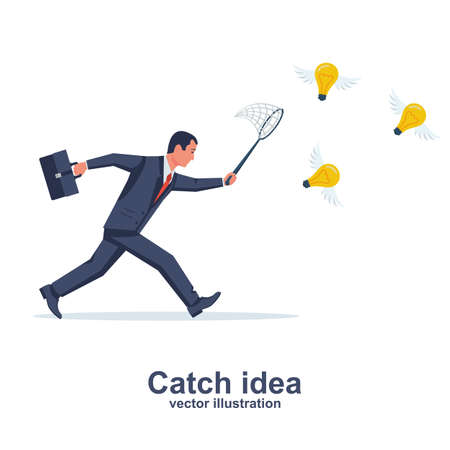 Businessman is trying to catch flying light bulb with scoop-net 向量圖像