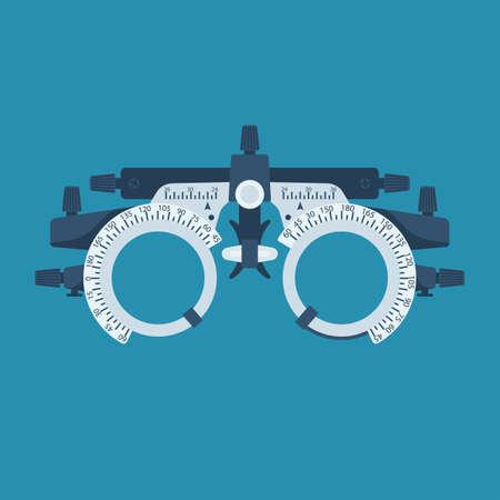 Optometrist flat icon. Eye test frame. Vision test