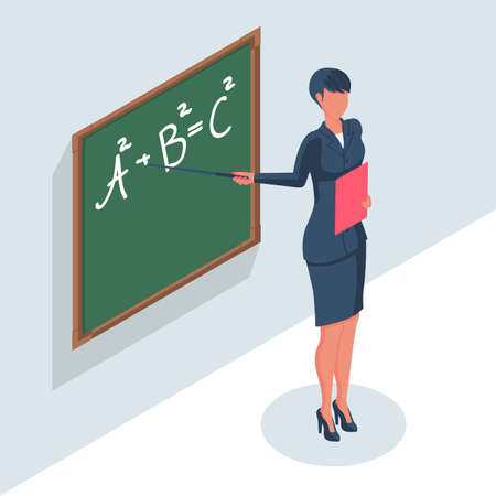 Professional teacher with a pointer standing at the school board. 向量圖像