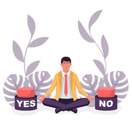 Landing page choice of Yes or No. Businessman before a choice