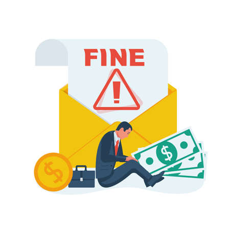 Fine concept. Landing page business metaphor. A sad businessman sits near a large envelope with a bad message. Vector illustration flat design. Isolated on white background.