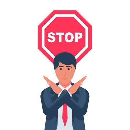 Man holds hands crosswise, stop hands gesture
