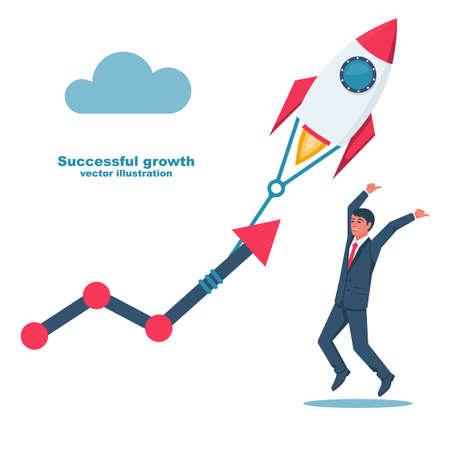 Successful growth. Businessman happy project success. 向量圖像