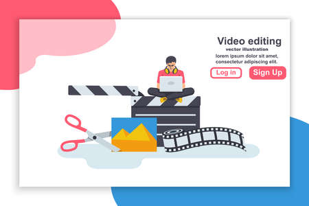 Landing page video editing. Multimedia content. Footage editing