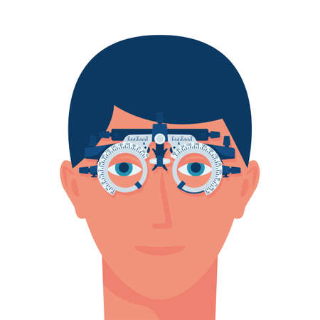 Vision test. Young man wearing special glasses for the diagnosis of vision