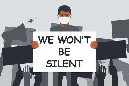 We wont be silent. African man wearing medical mask on face 向量圖像
