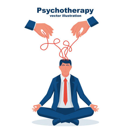 Psychotherapy concept. The therapists hands unravel the strings of sad businessman