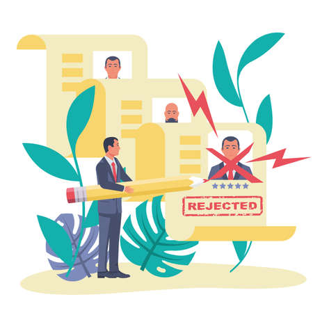 Recruitment concept. The boss rejects the job application. Vector Illustratie