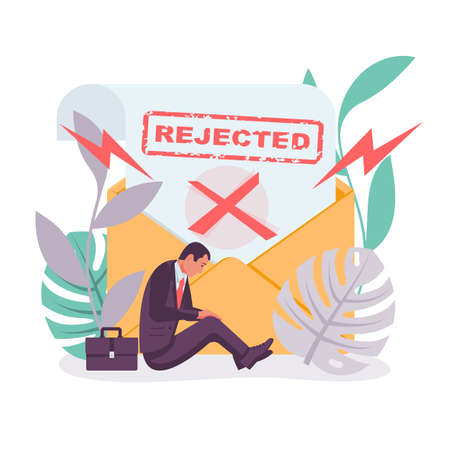 Template landing page, refusal in writing. Rejected icon. Ilustrace