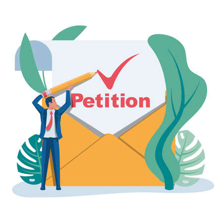 Landing page petition. An envelope with a letter of approved petition