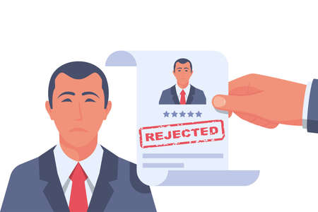 Reject resume. Head hunter holds a stamped candidate document rejecting a job application