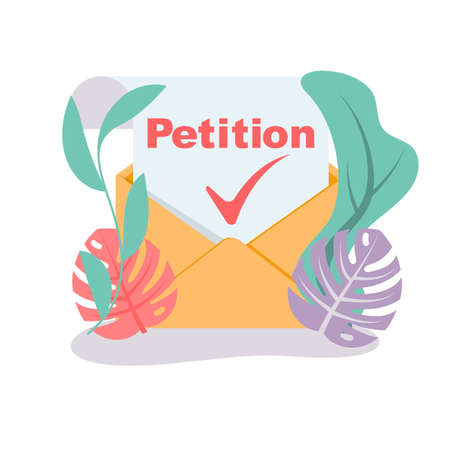 Landing page petition. An envelope with a letter of approved petition. Isolated icon on white background.Vector illustration flat design.
