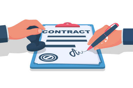 Businessman signs a contract and puts a stamp