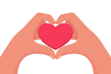 Two hands make a heart sign. A template for romance or protection.