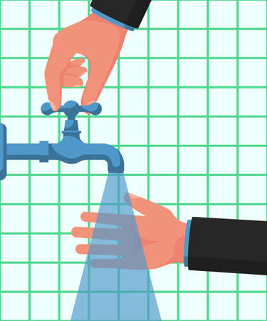 Hand washing under the tap with water