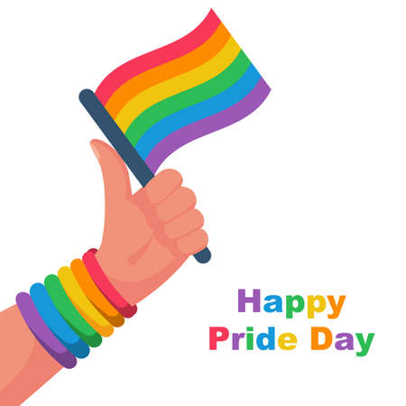 Happy pride day. Colored flag as symbol of freedom and bandage on hand