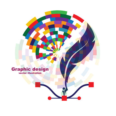 Pen tool cursor. Creative color   graphic design 向量圖像