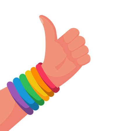 Gay pride concept. Hand makes like. Bracelet with a rainbow flag LGBT pride 向量圖像