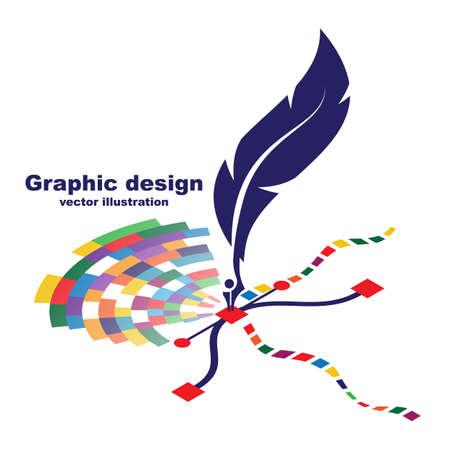 Pen tool cursor. Creative color  graphic design