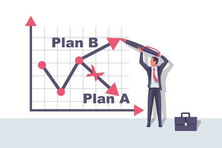 Plan A and plan B on financial chart. Graph on blackboard.