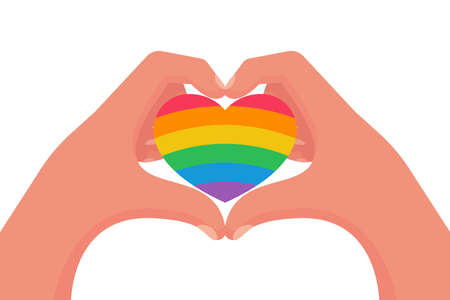 Gay couple in love. Rainbow colored heart as a symbol of pride.