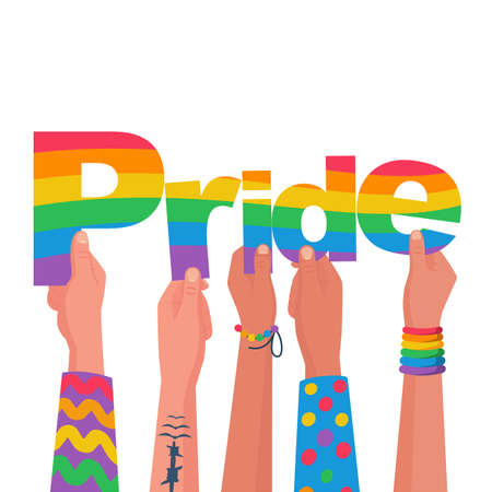 Happy pride day. Colored letters in the hands of gay bisexuals and freedom fighters 向量圖像