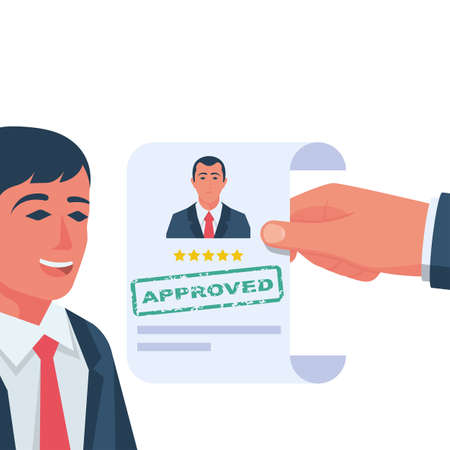 Approved stamp in the hands of a headhunter. Approved employment document. Happy businessman rejoices about hiring. Vector illustration flat design. Isolated on white background.