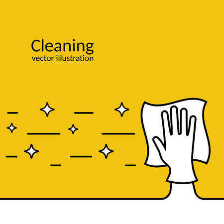Landing page cleaning service. Black outline icon Illustration
