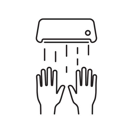 Hand dryer black line icon. Equipment in a public place. Vector illustration cartoon style. Isolated on background. Hygiene and hand washing. Public toilet sign.