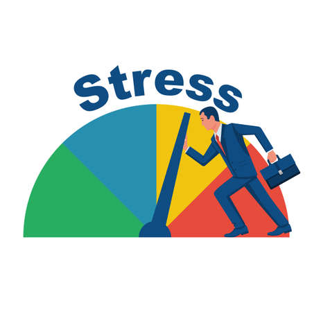 The businessman reduces stress levels. Push the instrument arrow. Stress regulation. Reduce load. Vector illustration flat design. Isolated on white background.