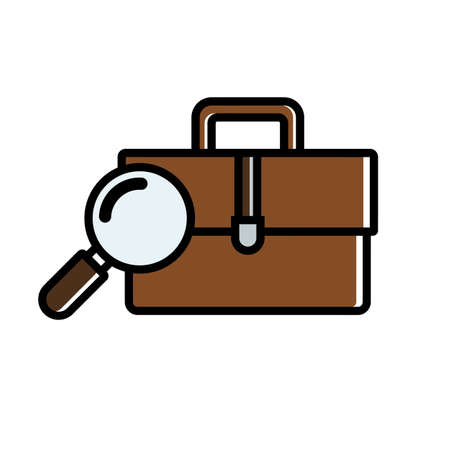 Job search concept. Flat busines icon. Suitcase and magnifier close-up. Vector illustration flat design. Isolated on white background.