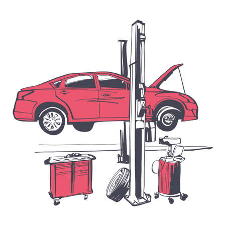 Car repair icon. Vehicle liffting. Sign of service maintenance transport. Vector illustration sketch design. Isolated on background. Elevator automobile. Service station. Raise car to top diagnosis.