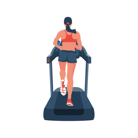 Woman on treadmill. Running simulator. Gym tool. Running woman
