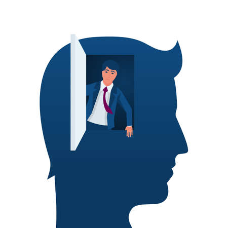 Freedom of mind. Get out of the closed mind, business metaphor. Open the door to a world of possibilities. Vector illustration flat design. Isolated on white background. Vetores