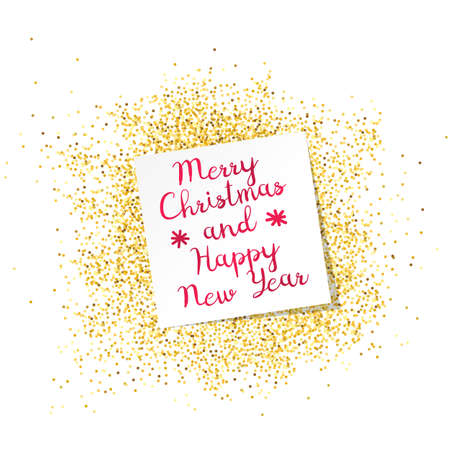 Inscription Mary Christmas and Happy New Year on white sheet. Gold dust on the background. Template greeting card, label. Abstract background. Happy holiday. Calligraphic ornament. Vector flat design.