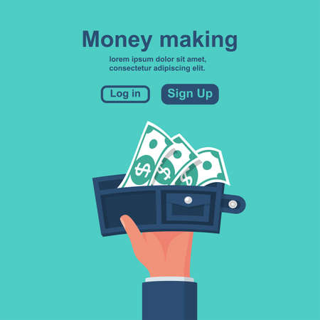 Money making concept. Vector illustration flat design.