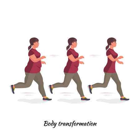 A thick female body transforms into a slender one. Goes in for sports and fitness for weight loss. Run. Healthy lifestyle. Vector illustration. Ilustración de vector