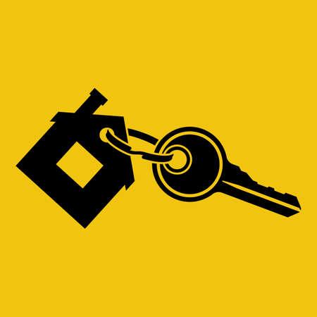 House key with trinket house-shaped. Rental estate