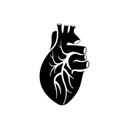 Human heart black silhouette icon. Vector illustration flat design. Isolated on white background. Venous system. Muscular organ inner. Blood pump. Vetores