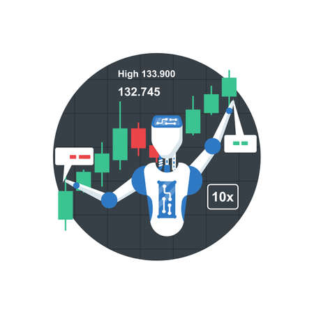 Robot tradings. Stock exchange robot. Business trading concept. Forex market. AI technologies in business and stock market. Artificial Intelligence. Vector illustration flat design.