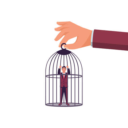 Trap concept. The businessman is caught and enslaved. Man in captivity, dependence on leadership. Vector illustration flat design. Isolated on white background. A man in a cage, sit behind bars.