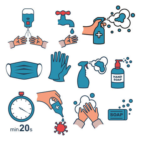 Prevention set black line vector icon for web site. Rubber gloves, medical mask. Bottle of antiseptic spray. Antibacterial flask. Disinfectant concept. Coronavirus protection. Washing water with soap.
